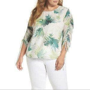 Vince Camuto Drawstring Sleeve Sunlit Palm Top NWT